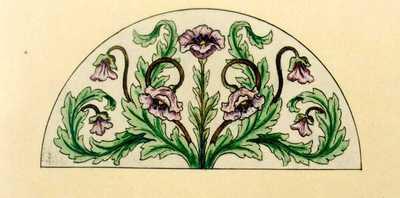 Manufacture de Céramiques Décoratives de Hasselt (1895-1954), ontwerptekening voor een halfrond tegelpaneel met bloemenmotief, 1896-1914, inkt, waterverf op papier.