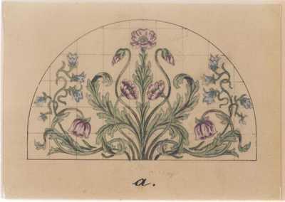 Manufacture de Céramiques Décoratives de Hasselt (1895-1954), ontwerptekening voor een halfrondvormig tegelpaneel met papavers en klokjes, s.d., potlood, inkt, waterverf op papier.