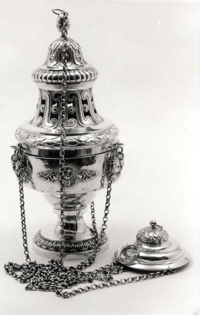 Jacques Vinckenbosch (1798-1876), Wierookvat, midden 19e eeuw, zilver.