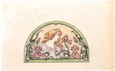 Manufacture de Céramiques Décoratives de Hasselt (1895-1954), ontwerptekening voor een halfrond tegelpaneel met buste van een vrouw en irissen, 1896-1914, potlood, inkt, waterverf op papier.