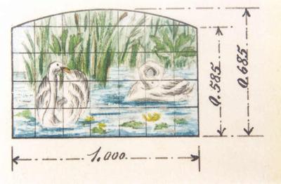 Manufacture de Céramiques Décoratives de Hasselt (1895-1954), ontwerptekening voor een tegelpaneel met afbeelding van twee zwanen, water en riet, s.d., inkt, waterverf op papier.