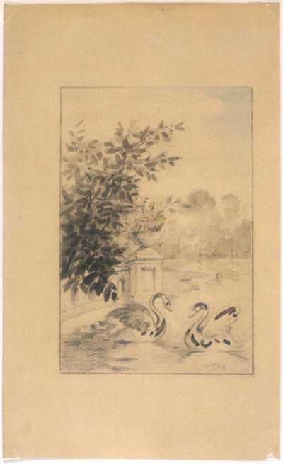 Manufacture de Céramiques Décoratives de Hasselt (1895-1954), ontwerptekening voor een tegelpaneel met tuinvijver met zwanen, s.d., potlood, waterverf, papier.