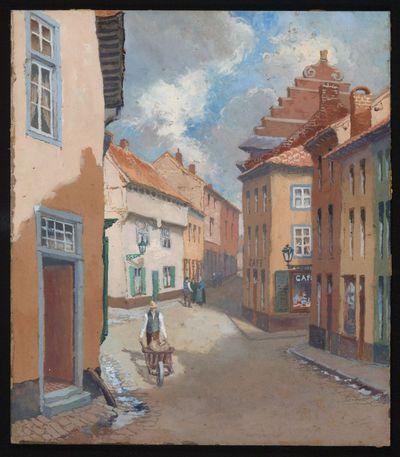Paul Marie Bamps (1862-1932), Maastrichterstraat - Aardappelmarkt, ca. 1890, goauche.