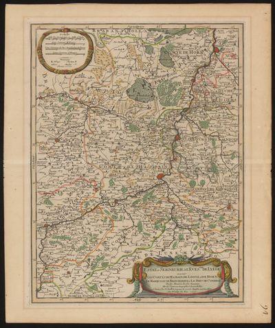 H. Jaillot, kaart van het prinsbisdom Luik met de graafschappen Hasbain, Loon en Hoorn, 1692, papier.