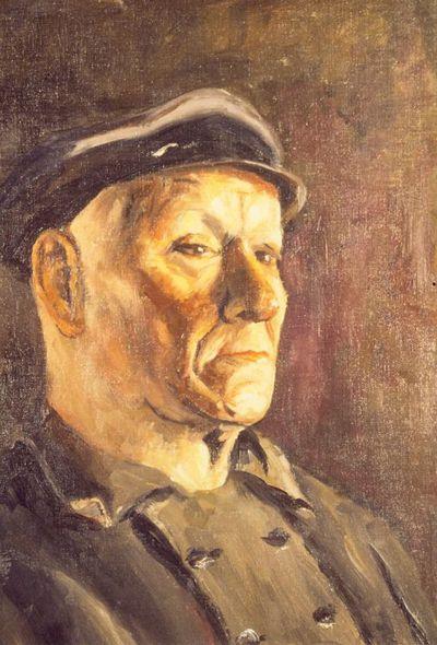 Virtorine (Victoire) Loodts (1880-1970), Man met pet, s.d., olie op doek.