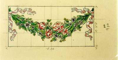 Manufacture de Céramiques Décoratives de Hasselt (1895-1954), ontwerptekening voor een tegelpaneel met bloemenguirlande, s.d., potlood, inkt, waterverf op papier.