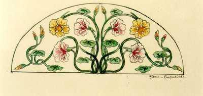 Manufacture de Céramiques Décoratives de Hasselt (1895-1954), ontwerptekening voor een boogvormig tegelpaneel met bloemen, 1895-1914, potlood, inkt, waterverf op papier.