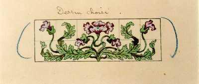 Manufacture de Céramiques Décoratives de Hasselt (1895-1954), ontwerptekening voor een tegelpaneel met bloemen, s.d., inkt, waterverf op papier.