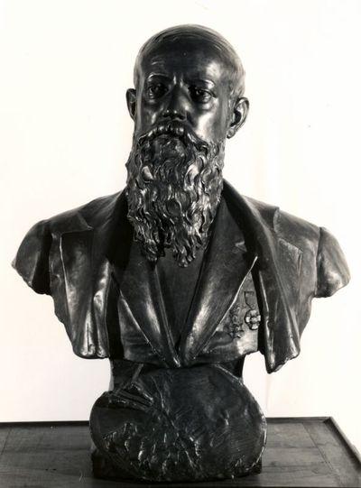 Emile Cantillon (1859-1917), borstbeeld van Djef Anten (1851-1913), 19de eeuw, gegoten gips, hol, bronskleurig.
