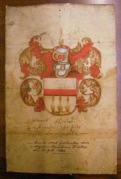 Anoniem, Wapenschild van Hasselts burgemeester Hauberick Houben, 1661, waterverf op papier.