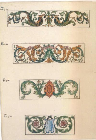 Manufacture de Céramiques Décoratives de Hasselt (1895-1954), ontwerptekening voor tegelpanelen met afbeelding van plantenmotieven, s.d., potlood, inkt, waterverf op papier.
