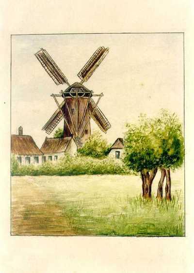 Manufacture de Céramiques Décoratives de Hasselt (1895-1954), ontwerptekening voor een tegelpaneel met windmolen en huisjes, s.d., inkt, waterverf op papier.
