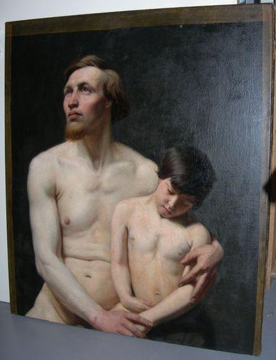 Michel Geraets (1829-1908), Studie, 2de helft 19de eeuw, olie op doek.