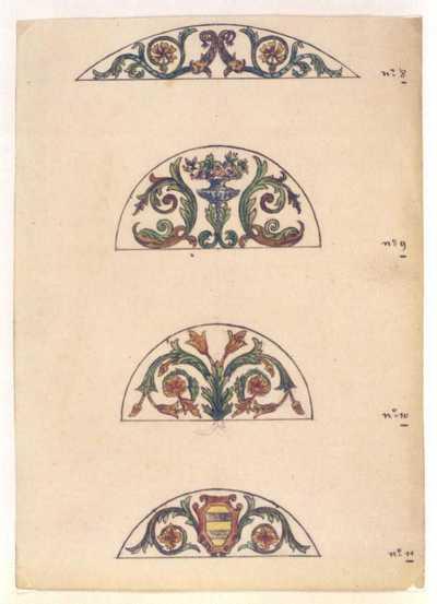 Manufacture de Céramiques Décoratives de Hasselt (1895-1954), ontwerptekening voor vier boogvormige tegelpanelen met plantenmotieven, 1895-1914, potlood, inkt, waterverf op papier.