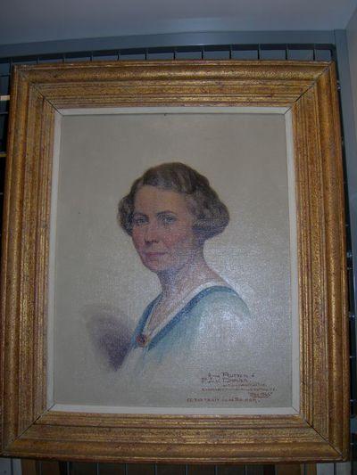 Anne Rutten (1898-1981), portret van Maria Thiery, echtgenote van Jos. Damien, 1945, olie op doek.
