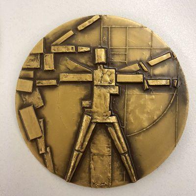 Kristine Praet, gedenkpenning ter gelegenheid van 25-jarig bestaan Provinciaal Hoger Instituut voor Kunstonderwijs Hasselt, 1980, geslagen messing