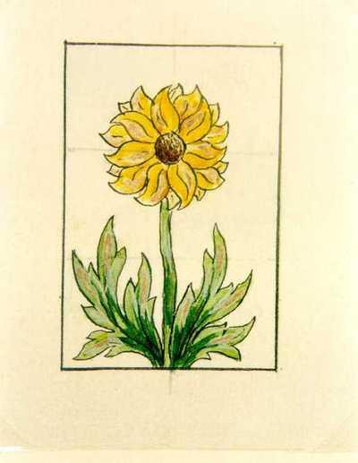 Manufacture de Céramiques Décoratives de Hasselt (1895-1954), ontwerptekening voor een tegelpaneel met zonnebloem, s.d., potlood, inkt, waterverf op papier.