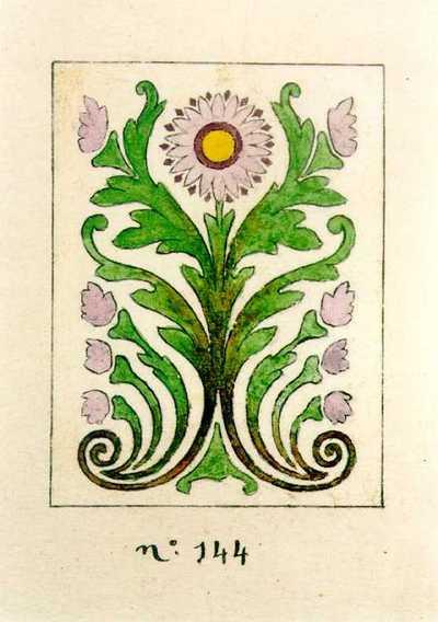 Manufacture de Céramiques Décoratives de Hasselt (1895-1954), ontwerptekening voor een tegelpaneel met gestileerde bloem, 1904, inkt, waterverf op papier.