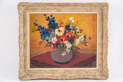 Bloemen op rode tafel (herwerkt)