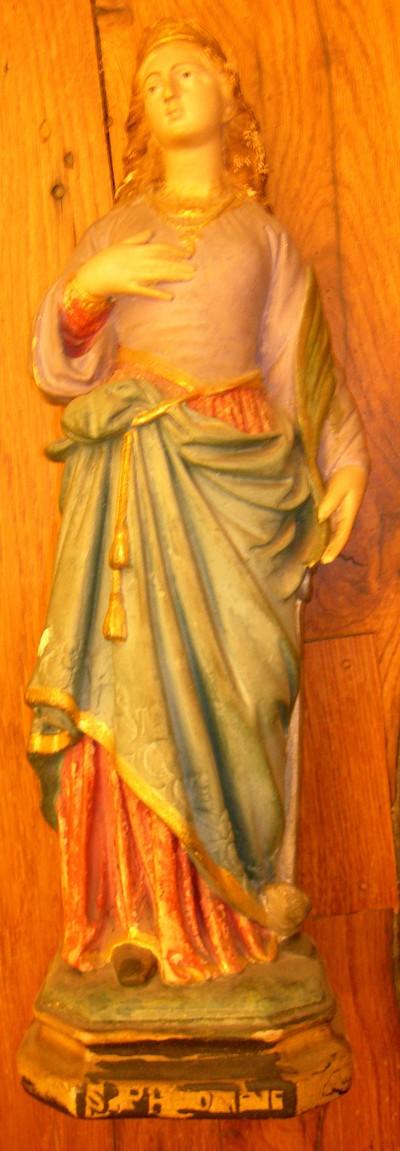 Aniniem, beeld van de Heilige Philomena van Mugnano, s.d., gepolychromeerd gips.