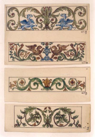 Manufacture de Céramiques Décoratives de Hasselt (1895-1954), ontwerptekening voor vier tegelpanelen met afbeeldingen van griffioenen en plantenmotieven, s.d., potlood, inkt, waterverf op papier.