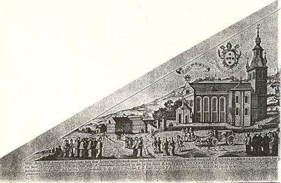 Michiels Ceysens, bedevaartvaantje met afbeelding van het bedevaartsoord en kerk van Kortenbos, s.d., papier, kopergravure.