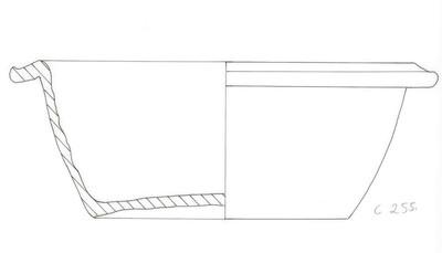Volledige pot met strakke wand en ovale bodem in Ruwwandig Aardewerk Oxiderend (RWO)