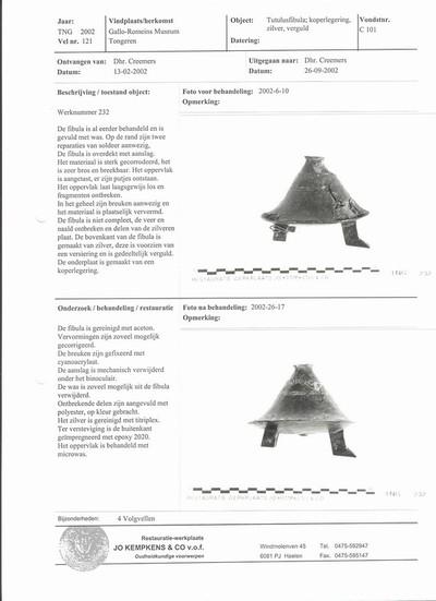 Incomplete bronzen wangenscharnierfibula (tutulus)