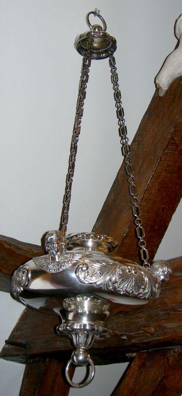 Anoniem, godslamp uit de Sint-Quintinuskathedraal Hasselt, midden 19de eeuw, zilver.