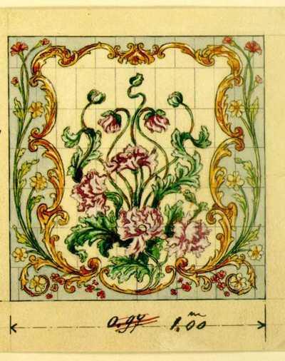 Manufacture de Céramiques Décoratives de Hasselt (1895-1954), ontwerptekening voor een tegelpaneel met bloemendecor, 1895-1914, potlood, inkt, waterverf op papier.
