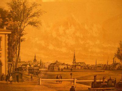 Charles Joseph Hoolans (1814-1866) lithograaf, Simonau & Toovey drukker, Gezicht op de oude halte aan de Luikersteenweg, 1860, lithografie.