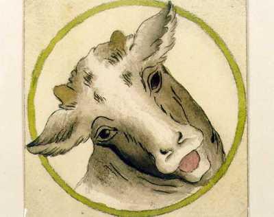 Manufacture de Céramiques Décoratives de Hasselt (1895-1954), ontwerptekening voor een tegel met runderkop, s.d., potlood, inkt, waterverf op papier.