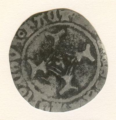 Swerte (brûlé), geslagen in Hasselt, 1456-1482 (prins-bisschop Lodewijk Van Bouron als graaf van Loon), geslagen messing.