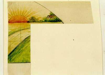 Manufacture de Céramiques Décoratives de Hasselt (1895-1954), ontwerptekening voor een halfrond tegelpaneel met zonsopgang, s.d., potlood, inkt, waterverf op papier.