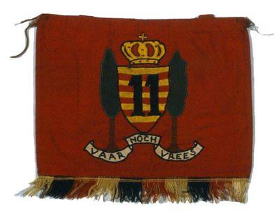 Anoniem, vlagje van het Elfde Linieregiment om bevestigd te worden aan de trommel, s.d., dubbel katoen.