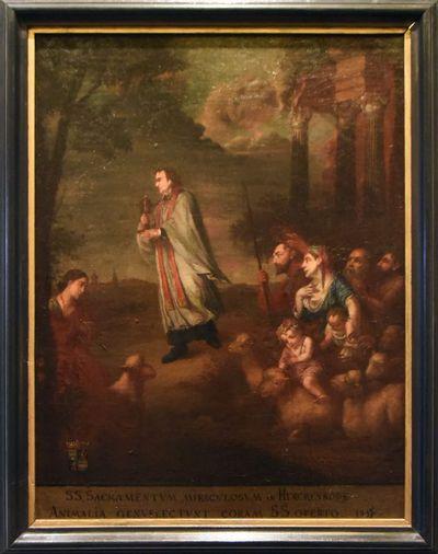 Anoniem, De schapen knielen langs de weg als de priester met het Heilig Sacrament voorbijkomt, schilderij uit een cyclus van zes, 18de eeuw, olie op doek.