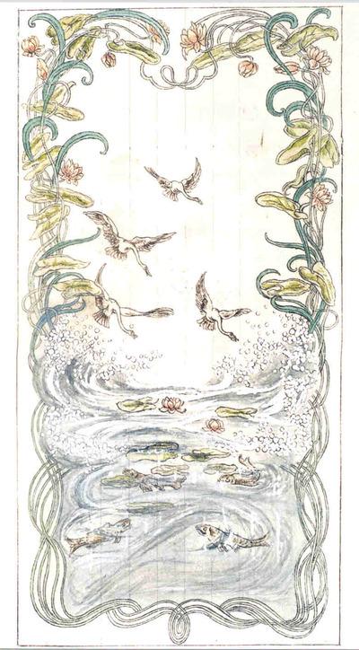 Manufacture de Céramiques Décoratives de Hasselt (1895-1954), ontwerptekening voor een tegelpaneel met vier vliegende zwanen boven kolkende vijver met vissen, 1895-1914, potlood, inkt, waterverf op papier.