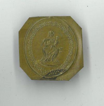Anoniem, mal voor medaille met Maria en Kindje Jezus, niet gedateerd, lood.