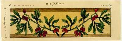 Manufacture de Céramiques Décoratives de Hasselt (1895-1954), ontwerptekening voor een tegelapneel of tegelfries met twee bessentakken, s.d., inkt, waterverf op papier.