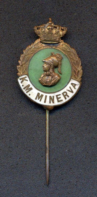 Anoniem, borstspeld van de Koniklijke Maatschappij Minerva, s.d., metaal, deels verguld, deesl geëmailleerd.
