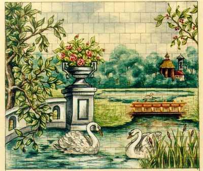 Manufacture de Céramiques Décoratives de Hasselt (1895-1954), ontwerptekening voor een tegelpaneel met tuinlandschap met vijver en zwanen, s.d., inkt, waterverf op papier.