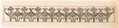 Manufacture de Céramiques Décoratives de Hasselt (1895-1954), ontwerptekening voor een tegelfries met bloemmotief, voor 1902, inkt, waterverf op papier.