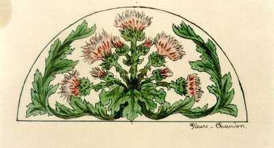 Manufacture de Céramiques Décoratives de Hasselt (1895-1954), ontwerptekening voor een halfrond tegelpaneel met distels, 1896-1914, intk, waterverf op papier.