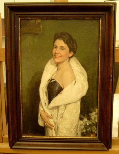 Jos. Damien (1879-1973), portret Anne Rutten, s.d., olie op triplex.