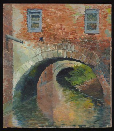 Paul Marie Bamps (1862-1932), Overbrugging van de Nieuwe Demer in de Witte Nonnenstraat, ca. 1890, gouache.