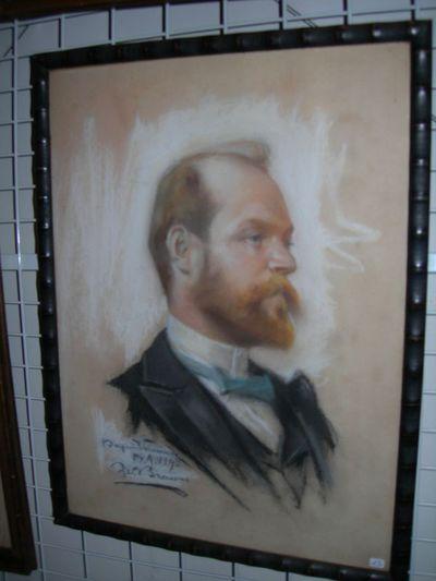 Sylvain Brauns (1890-1947), portrettekening van Emile Cantillon (1859-1917), 1893, pastelkrijt.