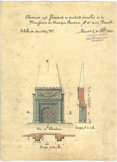 Manufacture de Céramiques Décoratives de Hasselt (1895-1954), fabrikant, Alphonse Gatz (1871-1917), ontwerper, ontwerptekening voor een schouw, 1905, potlood, inkt, waterverf op papier, handgeschreven tekst.