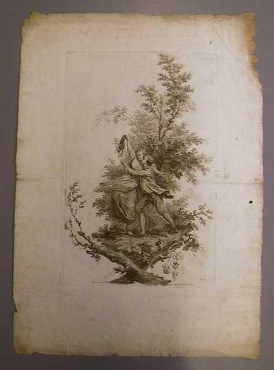 Anoniem, prent met een jong, speels en dansend koppel in landschap, s.d., papier, ets.