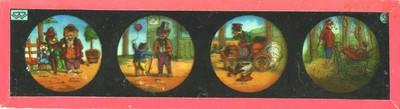 In totaal vijftien lantaarnplaatjes van verschillend formaat met een rood papieren rand. Enkele plaatjes zijn voorzien van het logo van 'Bing Werke' te Neurenberg: dit logo werd gehanteerd van 1924 - 1933. Zes grote lantaarnplaatjes met elk vier kleine voorstellingen in ronde kaders: a. kattengezin bestaande uit ouders met zoontje, een kleine kat met ballon en een volwassen kat, een vos in en auto die hard door wegrennend pluimvee rijdt, twee vossen met fietsen: logo linksboven 'BW'; b. kikkerkoor met dirigent, kleine jongen bespeelt een blaasinstrument en is omringt door witte ganzen, drie kinderen spelen accordeon, dwarsfluit en klarinet onder een boom, een kind bespeelt een viool voor haar drie poppen: logo linksboven onbekend 'e.a.n.'; c. vier afbeeldingen van als mens verklede vossen: een vos die een gans uit de oven haalt, een vos die de veren van een gans plukt, een vos in jagerskostuum met een dode gans en een vos met geweer in een kamer met twee andere vossen waarvan één een klein vosje op schoot heeft: logo linksboven 'BW'; d. vier afbeeldingen met ooievaars: een die een baby aan een touw een schoorsteen in laat zakken, twee ooievaars met baby's op de rug, twee ooievaars bij een vijver waar baby's op waterleliebladen zitten en twee op hun nest op een dak terwijl een derde langs vliegt. Logo linksboven 'BW'; e. vier afbeeldingen genummerd 5 t/m 8: 5. Een jongen wordt aan zijn oren gegrepen door twee ganzen en de lucht in getild en een derde gans loopt weg met een krakeling. Op de achtergrond een huis met een rokende schoorsteen. 6. De twee ganzen gooien de jongen in de rokende schoorsteen. 7. De jongen beland in een grote ketel die op het vuur staat. Een vrouw die met het koken bezig is, deinst terug. 8. De vrouw hangt zijn kleren te drogen terwijl de jongen zonder kleren aan voor de kachel staat; f. vier afbeeldingen waarin een jongen van een man een vliegenvanger(?) krijgt. Terwijl de man slaapt probeert de jongen de vlieg(?) van de neus van de man af te 