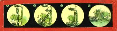 Twintig lantaarnplaatjes met elk vier voorstellingen in ronde kaders. Twee glasplaatjes vormen samen een doorlopend verhaal: De volgende acht glasplaatjes met in totaal vier verhalen zijn met rood papier omlijst: 1a. Twee jongens beklimmen een ladder naar drie jonge vogels in een nest op een boomtak. De ladder valt om en de jongens belanden in het water met hun benen in de lucht. Een jager met zijn hond lopen er naar toe; 1b. De hond haalt de jongens uit het water. Zij lopen weg en dragen de ladder met zich mee. De jager loopt ook weg met zijn hond en de vogeltjes zitten juichend in hun nest. 2a. Iemand ligt in een ton en de benen steken naar buiten. Twee kinderen laten de ton rollen; 2b. Tijdens het voortrollen haken ze aan de ton vast en komen daaronder terecht. Ze worden plat gerold. Een oude man komt uit de ton tevoorschijn. Hij gaat weer in de ton liggen terwijl hij vermanend zijn vinger uit de ton steekt. 3a. Een eend trekt een kikker uit het water, een andere eend ziet het en beide gaan om de kikker vechten die intussen ontsnapt; 3b. De kikker springt door een hek heen en de eenden komen vast te zitten in de spijlen van het hek. Een kok met een mes in de hand neemt ze mee. De kikker heeft een ooglapje voor, maar rust liggend onder een blad en rookt een pijpje. 4a. Een olifant wordt geraakt door een pijl. Hij gaat achter de schutter aan en grijpt deze bij zijn oor; 4b. De olifant dompelt de schutter onder in water en spuit hem nat. Daarna gooit hij hem in een cactus. Bedekt met stekels drupt de schutter af terwijl de olifant rustig wegloopt. De volgende 12 glasplaatjes met in totaal zes sprookjes zijn met groen papier omlijst: 5a. Doornroosje wordt bij haar geboortefeest door de heks vervloekt. Als jonge vrouw komt zij bij de heks die aan het spinnewiel draait. De hele hofhouding en ook het keukenpersoneel vallen in slaap; 5b. Een afbeelding van het kasteel, de aankomst van de prins bij het kasteel. Hij vindt Doornroosje en ze lopen samen hand in hand de trap 